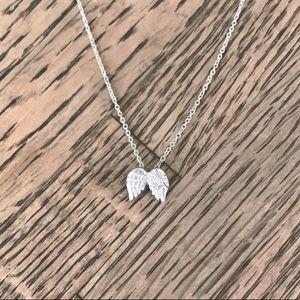 Dainty guardian angel wings silver necklace
